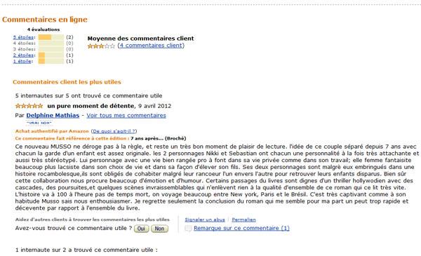 Commentaire client sur Amazon.fr