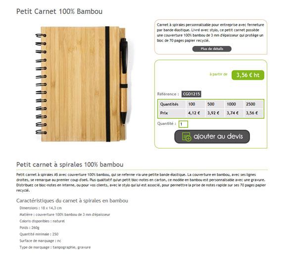 Exemple de fiche produit sur cadoetik.com